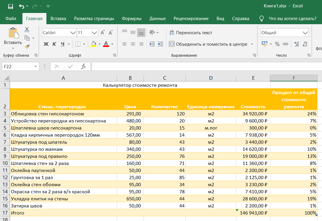 Формат ячеек в Excel: Процентный формат