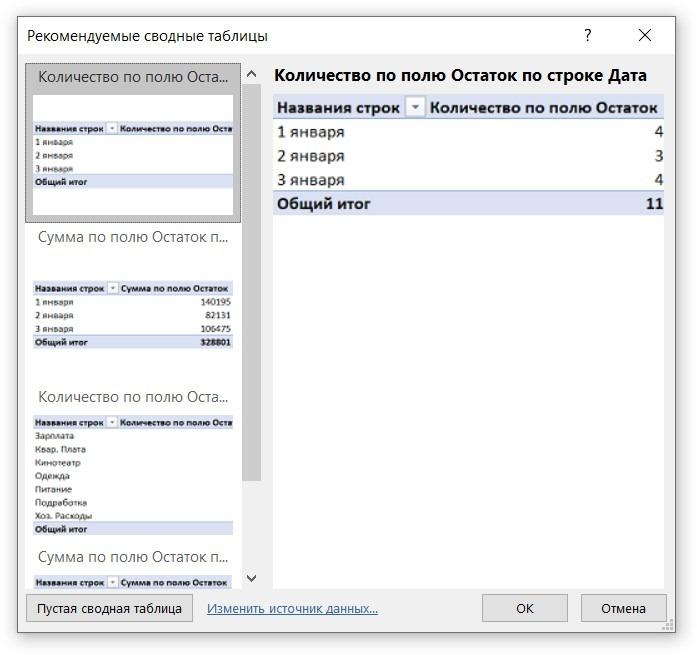 Рекомендуемые сводные таблицы в Excel