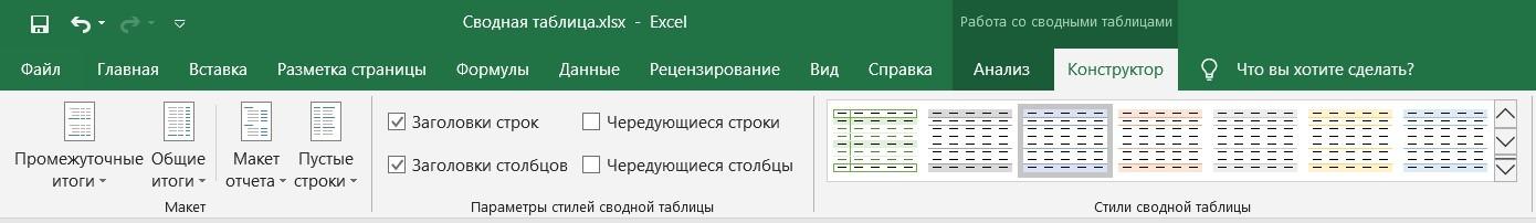Работа со сводными таблицами: вкладка Конструктор