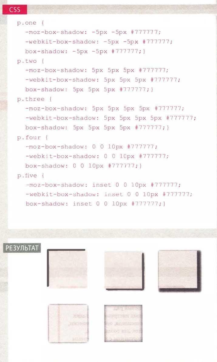Блоки CSS: Тени блоков
